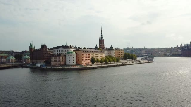 stockholm old town seen from sea, drone view - old town stock videos & royalty-free footage