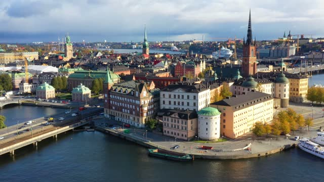 stockholm old town seen from sea, drone view - stockholm stock videos & royalty-free footage