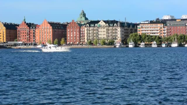 stockholm sweden downtown beautiful buildings on riddarfjarden water - famous place stock videos & royalty-free footage