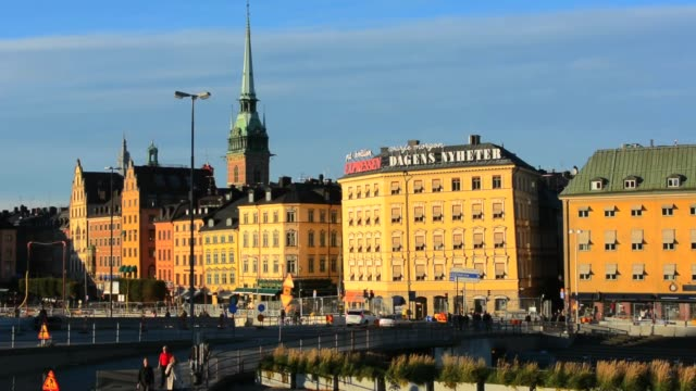 Stockholm Sweden downtown skyline at sunset of city center with old buildings in city