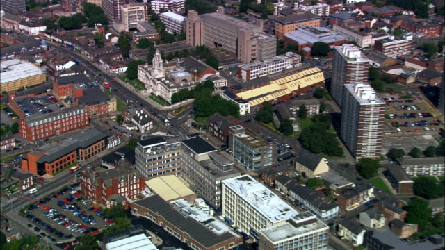stockport  - aerial view - england, stockport, united kingdom - local government building stock videos & royalty-free footage