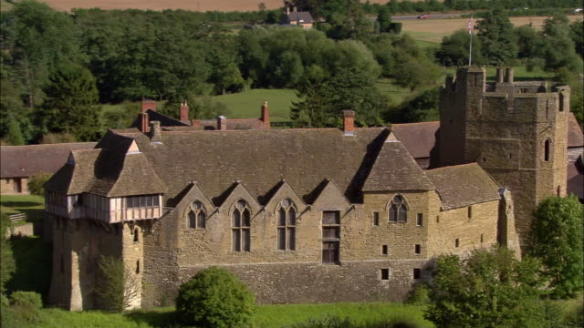 aerial, zo, stokesay castle, craven arms, shropshire, england - stokesay castle stock videos and b-roll footage
