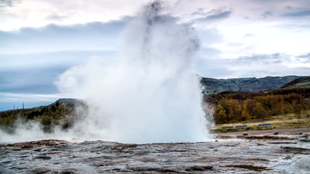 slow motion stokkur geyser eruption iceland - geyser stock videos and b-roll footage