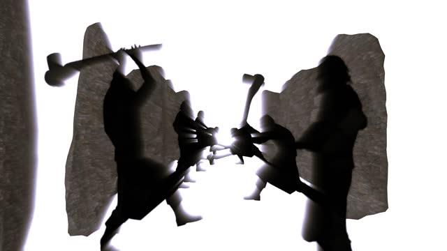 石器時代新石器時代の洞窟人は、スタンディングストーンズ岩から寺院を構築します。ストーンヘンジ3dアニメーションクリエイティブコンセプトファンタジー - 先史時代点の映像素材/bロール