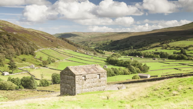 stone barns in swaledale. - england stock videos & royalty-free footage
