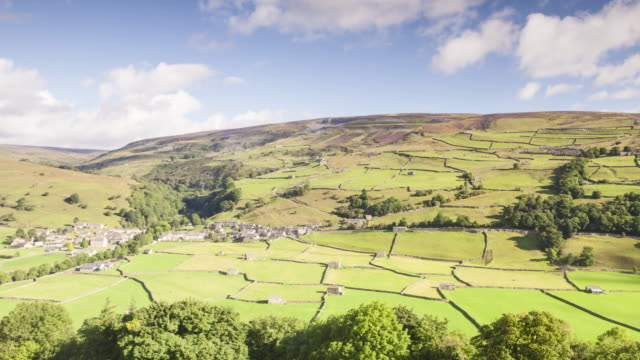 stone barns near to gunnerside in swaledale, uk. - pennines stock videos & royalty-free footage
