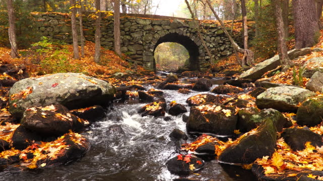 stone bridge in die quabbin wendepunkt in massachusetts - massachusetts stock-videos und b-roll-filmmaterial