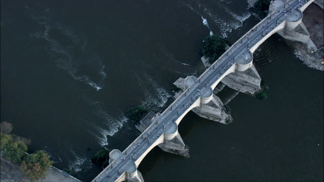 Stone Bridge Or Bridge Of Lions  - Aerial View - Aragon, Saragossa, Zaragoza, Spain