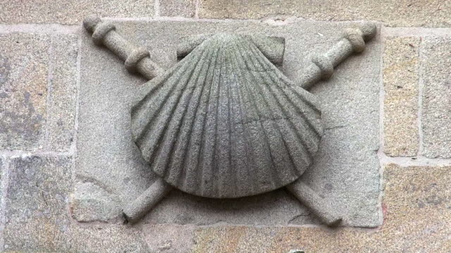 stone carving of a scallop at the santiago de compostela cathedral - animal shell stock videos & royalty-free footage