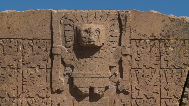 vidéos et rushes de stone carving on the gate of the sun, bolivia - civilisation ancienne