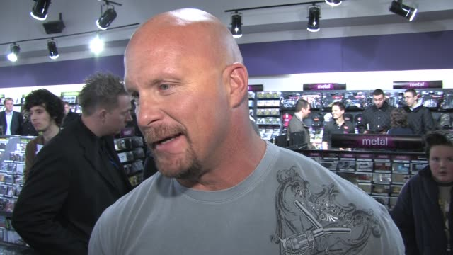 'Stone Cold' Steve Austin on how pleased his is to be at the event at the WWE's 'Stone Cold' Steve Austin DVD signing on March 19 2008