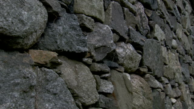A stone facade decorates the outside of cottages in Black House Village in Gearrannan Scotland. Available in HD.