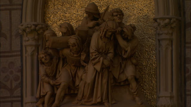 stone figures in st patrick's protestant cathedral, armagh, northern ireland - protestantism stock videos & royalty-free footage