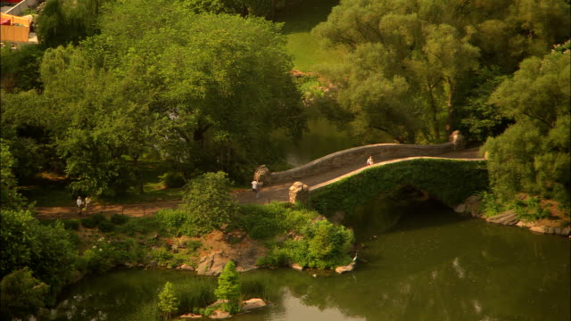 a stone footbridge spans a pond in new york city's central park. - pond stock videos & royalty-free footage