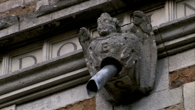 vídeos y material grabado en eventos de stock de a stone gargoyle protects a metal pipe above the rushton triangular lodge in northamptonshire, england. available in hd. - northamptonshire