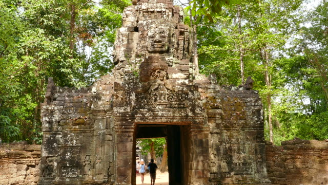 stone gate of angkor temple at angkor thom in cambodia - circa 13th century stock videos & royalty-free footage