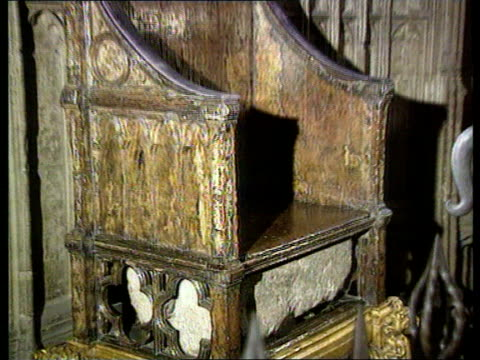 Battle over resting place ITN LIB Stone of Scone in special chamber in Coronation Chair PULL TCMS Stone in chair