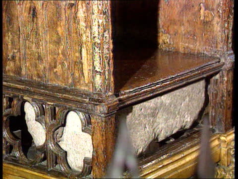stone of destiny to rest in edinburgh castle itn lib london westminster abbey stone of destiny stored under throne in abbey lms throne - edinburgh castle stock videos & royalty-free footage