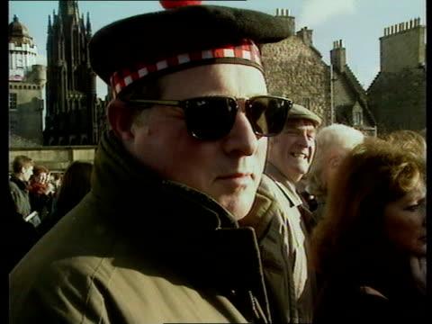 stone of scone back in edinburgh; cms vox pops sot g/air flight of tornado bombers overhead - twister 1996 film stock videos & royalty-free footage