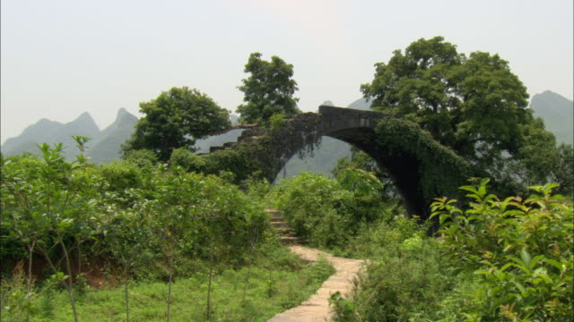ws stone path leading to arched footbridge, guilin, guangxi zhuang autonomous region, china - 潅木点の映像素材/bロール