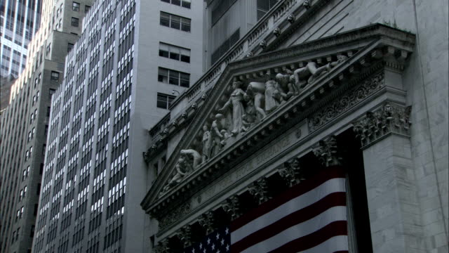 A stone pediment decorates the exterior of the NYSE. Available in HD.
