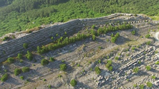 AERIAL: Stone quarry on mountain plateau