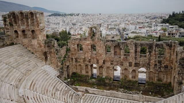 stone roman theater - odeon of herodes atticus - archaeological site acropolis of athens of athens , peloponnes, greece - acropolis athens stock videos & royalty-free footage