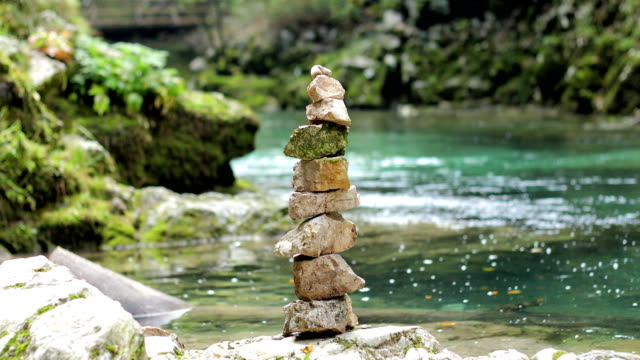 Stone Stack on Riverbank