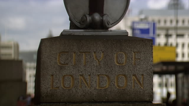 cu stone statue with city of london written on it / london, united kingdom - western script stock videos & royalty-free footage