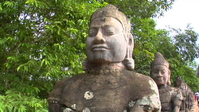 CU Stone statues at Bayon Temple, Angkor, Cambodia