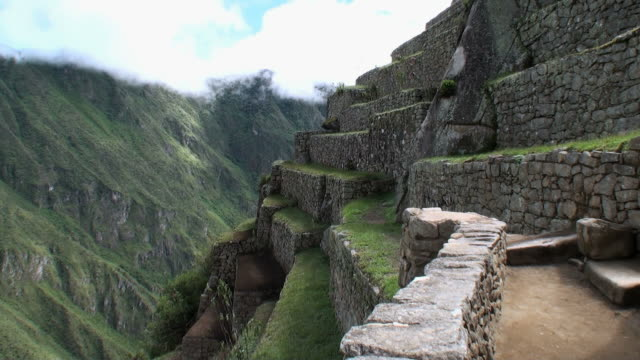 WS Stone terraces dropping into steep Urubamba Valley / Machu Picchu, Peru