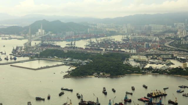 stonecutters island and bridge global shipping port kowloon - china east asia stock videos & royalty-free footage