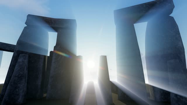 stonehenge neolithic period temple from standing stones rocks. stonehenge 3d animation creative concept - obelisk stock videos & royalty-free footage