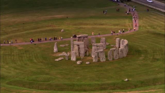 aerial, stonehenge, wiltshire, england - stonehenge stock videos and b-roll footage