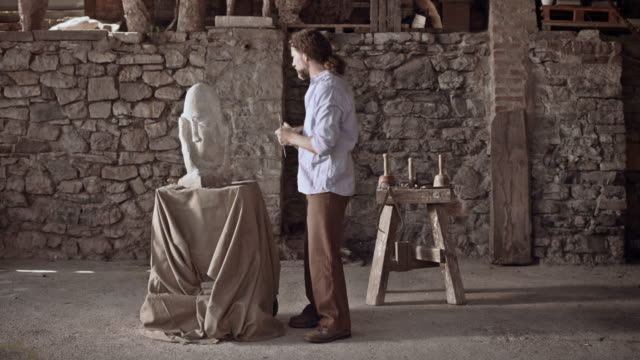 Stonemason finishes his work