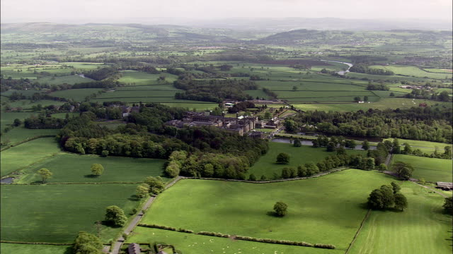 Stonyhurst College  - Aerial View - England,  Lancashire,  Ribble Valley District helicopter filming,  aerial video,  cineflex,  establishing shot,  United Kingdom