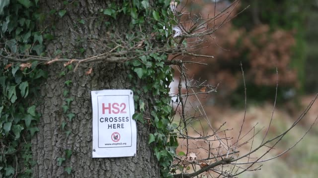 a 'stop hs2' poster is fixed to a tree in the countryside near lichfield england on january 29 2013 the government today announced the planned route... - lichfield stock videos & royalty-free footage