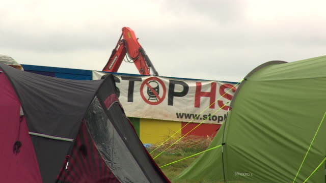 stop hs2 protestors at a construction site in solihull - passenger train stock videos & royalty-free footage