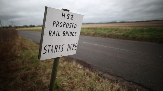 a 'stop hs2' sign in the countryside near lichfield england on january 29 2013 the government today announced the planned route for the extension of... - lichfield stock videos & royalty-free footage