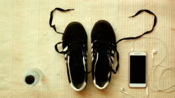 Stop motion a shoes typing exercise and healthy concept, 4K video