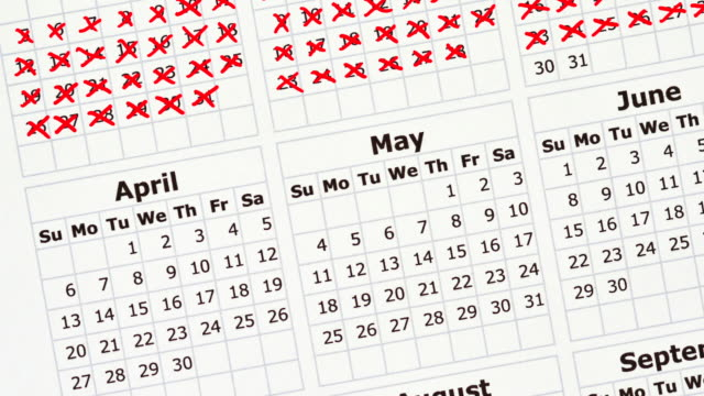stop motion animation of a calendar year with days crossed off. - month stock videos & royalty-free footage
