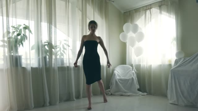 stop motion animation of dancing young women - vestito nero video stock e b–roll