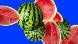 stop motion animation of melons, blue editable screen