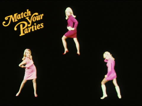 1968 stop motion animation of three blond women dancing /'match your parties' superimposed on screen - styles stock videos & royalty-free footage