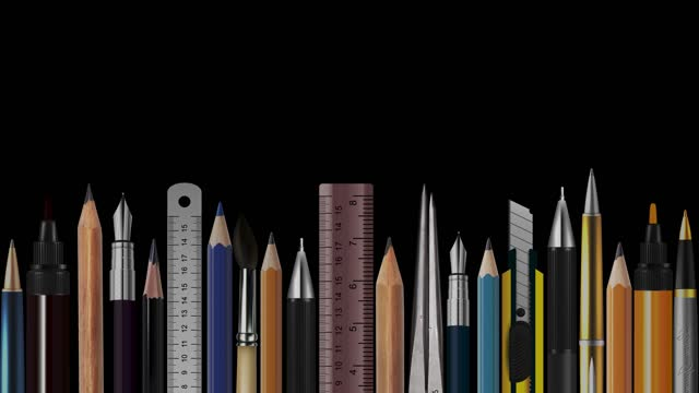 stop motion animation of wooden pencils, pens, measure, pair of compasses, brush, fountain-pen,  abstract conceptual image, contemporary art, bright idea, opinion, solution, philosophy, back to school - pair of compasses stock videos & royalty-free footage