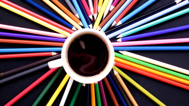 Stop motion colorful pencil and coffee cup ,4K video