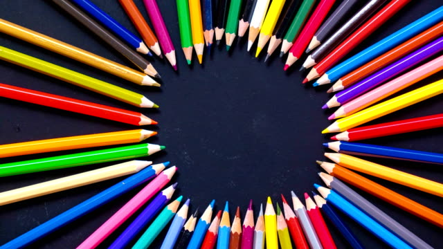 Stop motion colorful pencil