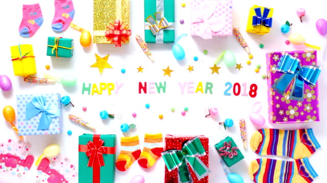 Stop motion gift box Decoration for New year background