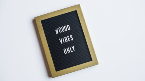 stop motion message #goodvibesonly - alphabet stock videos & royalty-free footage