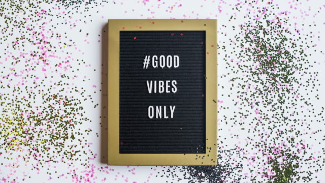 stop motion message #goodvibesonly - sprinkling stock videos and b-roll footage